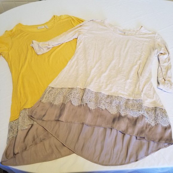 LOGO Gold and Pale Pink Long Sleeve Lace Trim Tops